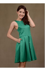 RS170803 Pleated pocket dress in green