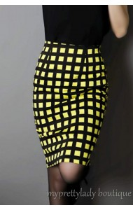 RS280803 Checked pencil skirt