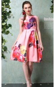 ADS043409YH Floral A line pleated dress