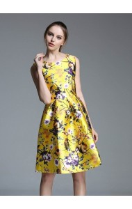 *KDS090079YW Owl print floral pleated dress