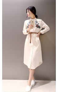 *KDS09621YM Korea embroidery belted long sleeves dress