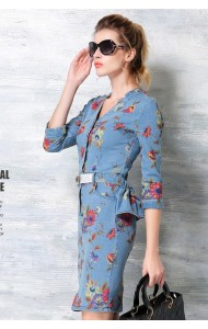 *BDS112619YN Plus size designer denim floral dress (REAL)