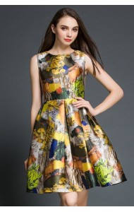 *BDS113519YN Designer printed floral dress (REAL)