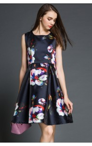 *BDS110519YN Designer A line floral dress (REAL)