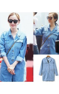 KJP128922YR Celebrities long sleeves denim jumpsuit (real photo)