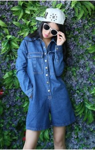 KJP127822YR Long sleeves denim jumpsuit