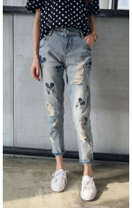 KPT127491YJ Embroidery mickey jeans (real photo)