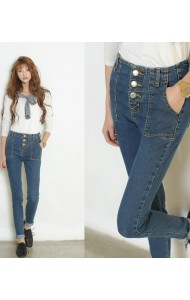 KPT124991YJ High waist button skinny jeans (Real photo)