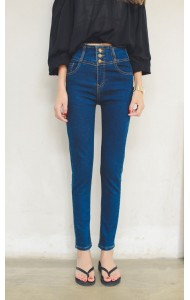 KPT127291YJ High waist button skinny jeans (Real photo)