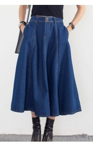 KSK12302YH Denim midi flared skirt