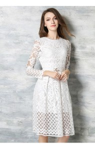 *BDS123206YN Designer inspired 2016 belted lacy dress (real photo)