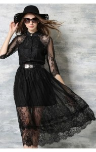 *BDS121685YN Designer inspired lacy belted dress (real photo)