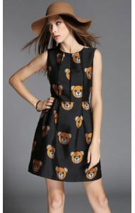 *BDS125838YN Designer inspired embroidery bear dress  (real photo)