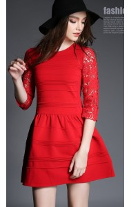 *BDS121409YH Designer inspired knit dress with lace sleeves (real photo)
