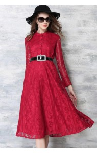 *BDS128685YX Designer inspired full lace long sleeves dress (real photo)
