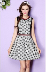 *BDS12301YS Designer inspired 2016 petite polka dress with zip decorated (real photo)