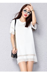 *KDS011089YH Plus size simple cut out shift dress (real photo)