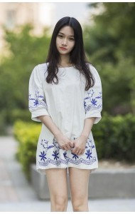 KDS015109YT Korea linen embroidery top (real photo)