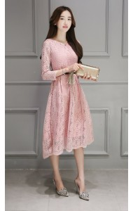 *KDS03113YT Full lace maxi belted dress in 3 colors REAL PHOTO