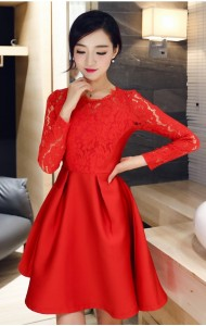 *KDS033822YH Red lace skater dress REAL PHOTO