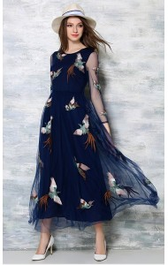 *BDS036885YX Embroidery mesh sleeves maxi dress  REAL PHOTO