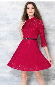 *BDS032885YX Maroon lace dress with belt REAL PHOTO