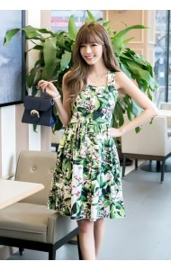 *KDS032588YH Floral button dress REAL PHOTO