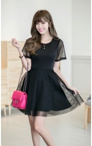 *KDS034288YH Netting flared dress REAL PHOTO