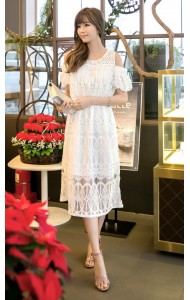 *KDS033388YH Shoulder off lac dress with puff sleeves REAL PHOTO