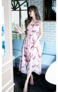 *KDS030488YH Butterfly print silk dress REAL PHOTO