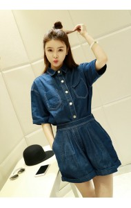 KST040059YM Denim pocket pants suit REAL PHOTO