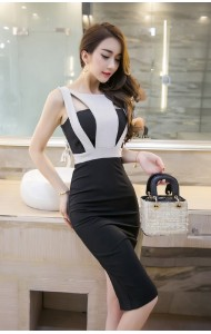 *KDS041529YK Cut in bodycon dress REAL PHOTO