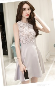 *KDS048086YK 2D lace skater dress REAL PHOTO