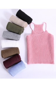 KTP048013YX Cut in knit singlet IN 10 colors REAL PHOTO