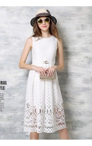 *BDS041306YX Lace sleeveless dress with belt REAL PHOTO