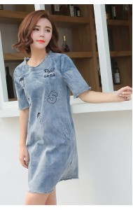 JDS040281YW Denim dress with embroidery ahlphabet REAL PHOTO
