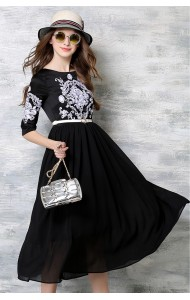 *BDS049206YH Embroidery belted maxi dress REAL PHOTO