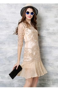 *BDS040306YH Embroidery organza dress with pleated trim REAL PHOTO