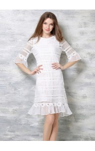*BDS042195YX Trumpet crochet dress REAL PHOTO