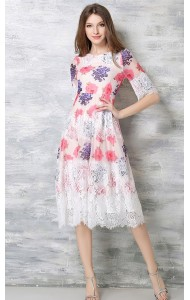 *BDS042456YX Floral high waist chiffon dress with lace trim REAL PHOTO