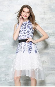 *BDS043456YX Embroidery organza asymmetry dress REAL PHOTO