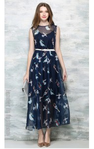 BDS047985YX Bird print chiffon maxi dress REAL PHOTO 621209703