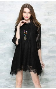 *BDS043985YX Middle sleeves lace asymmetry dress REAL PHOTO