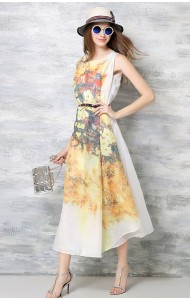 *BDS043195YX Floral belted maxi dress REAL PHOTO