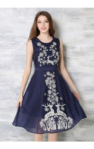 *BDS041295YX Embroidery flared midi dress REAL PHOTO