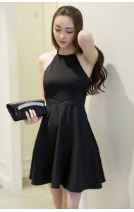 *KDS041186YX Halter neck skater dress REAL PHOTO