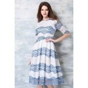 *BDS046295YX Full lace belted midi dress REAL PHOTO