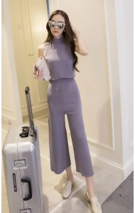*KST04082YS High neck knit two-piece pants suit REAL PHOTO