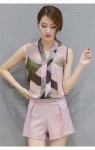 *KST04036YX Chiffon two-piece pants suit in purple REAL PHOTO