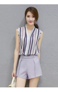 *KST04036YXS Chiffon two-piece pants suit in stripes REAL PHOTO